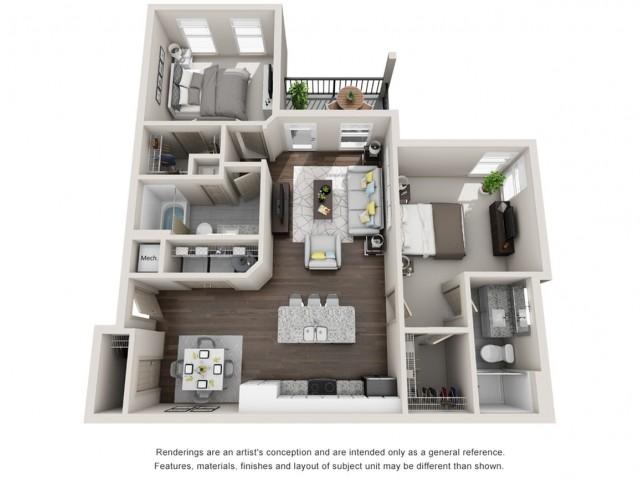 Conrad 1064 Square Feet Two Bedroom | Two Bathroom