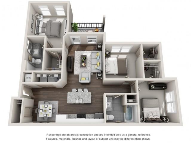 Woodruff 1255 Square Feet Three Bedroom | Two Bathroom