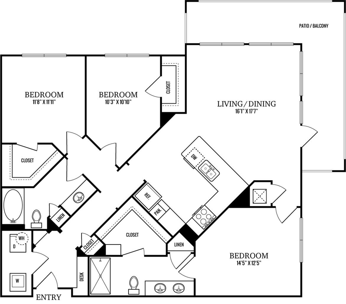 C1 3 Bedroom 2 Bath