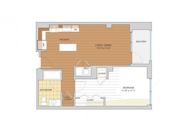 1 Bed 1 Bath Floor Plan A2