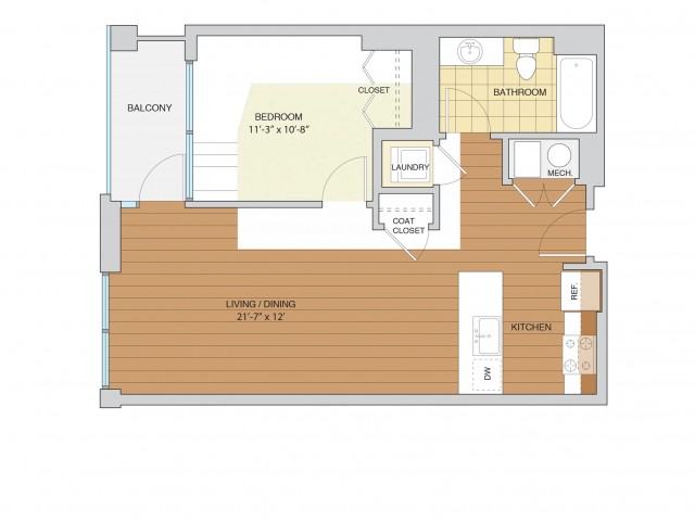 1 Bed 1 Bath Floor Plan A4