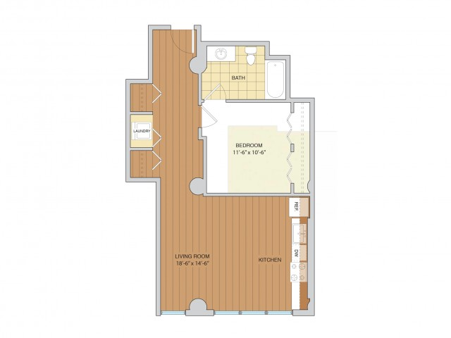 1 Bed 1 Bath Floor Plan A14