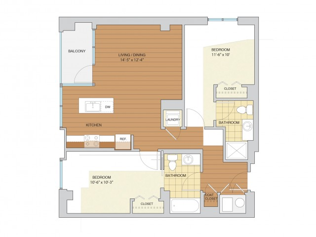 2 Bed 2 Bath Floor Plan B1