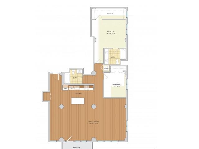 2 Bed 2 Bath Floor Plan B12