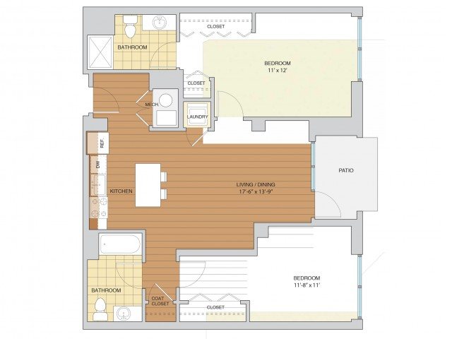 2 Bed 2 Bath Floor Plan B4