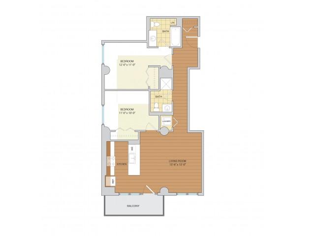 2 Bed 2 Bath Floor Plan B8