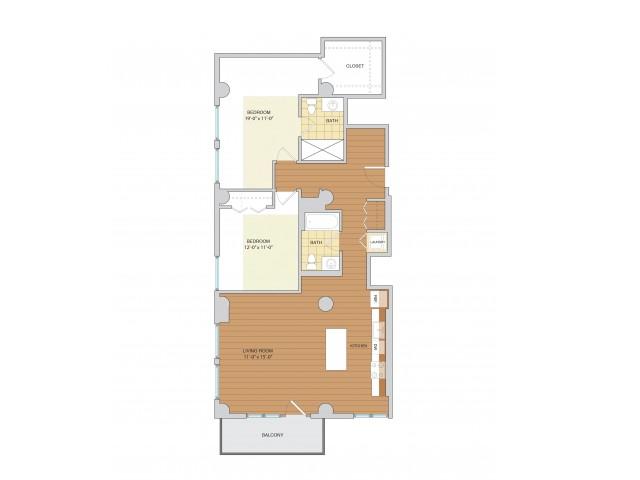 2 Bed 2 Bath Floor Plan B9