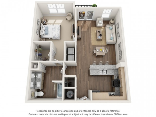 Catherine floorplan One Bedroom One Bath