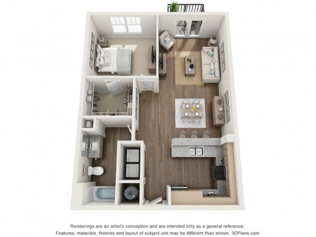 Hope floorplan One Bedroom One Bath