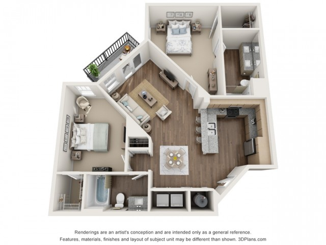 Lucien floorplan Two Bedroom Two Bath