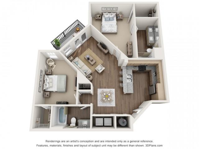 Lucien floorplan Two Bedroom Two Bath