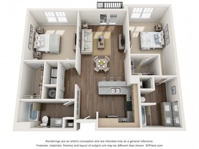 Wasumpi floorplan Two Bedroom Two Bath