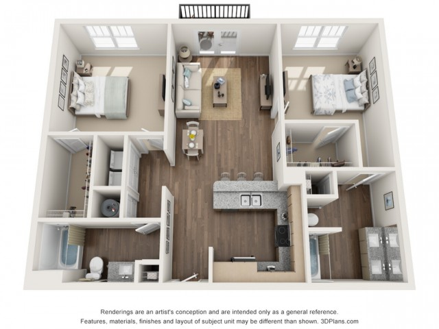 Destiny floorplan Two Bedroom Two Bath
