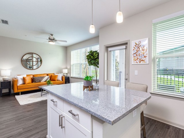 Tomoka Pointe Apartments Daytona Beach Florida view from kitchen island looking towards living room in a furnished model apartment home, wood plank flooring, shaker cabinets, pendent lighting, ceiling fan with light, three windows in living