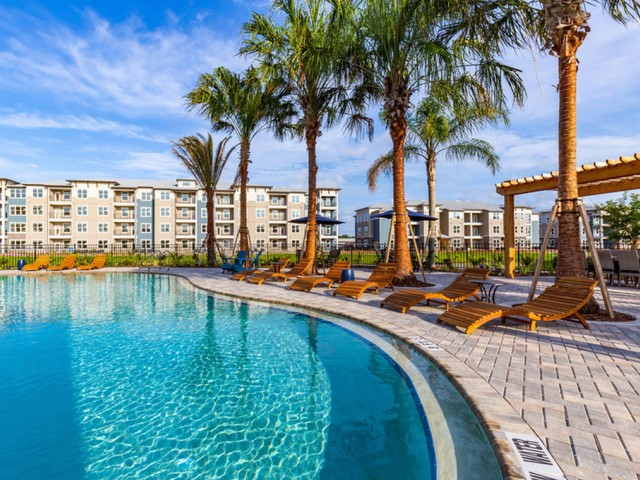 Tomoka Pointe Apartments Daytona Beach Florida pool edge along a strip of wooden curved lounge chairs with large palm trees providing shade, next to a wooden pergola with seating and four-story residential buildings in the distance