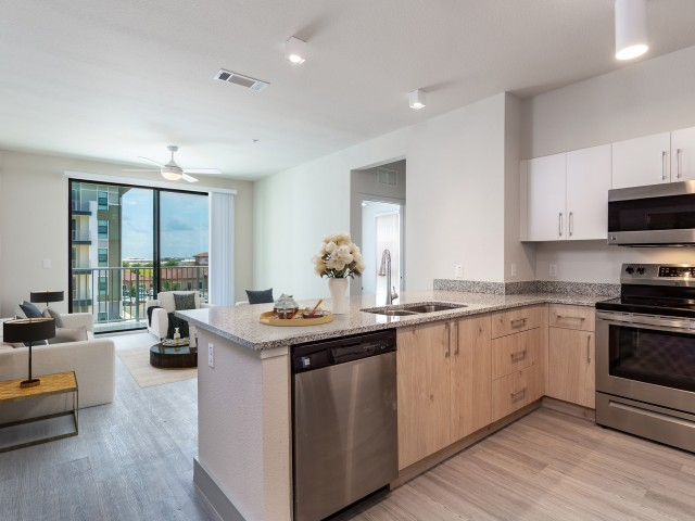 Lofts at South Lake kitchen with full appliance package overlooking living room and patio door