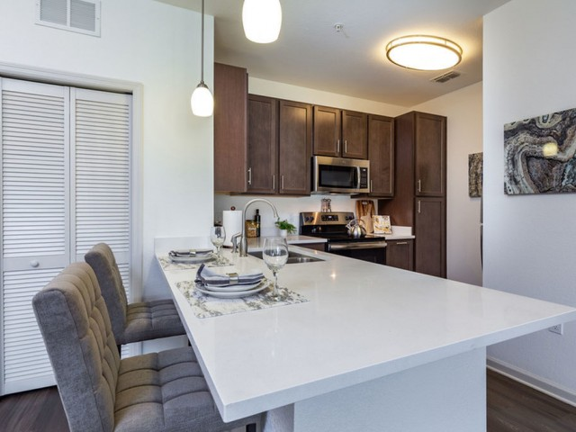 Treviso Grand Apartments - North Venice, Florida island kitchen with quartz countertop