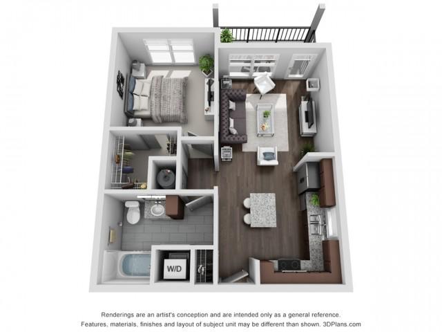Acadian 664 Square Feet One Bedroom | One Bathroom