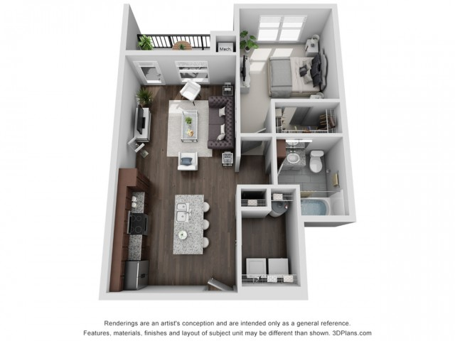 Berkshire 732 Square Feet One Bedroom | One Bathroom