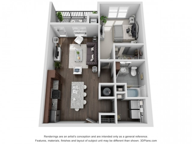 Cascadia 749 Square Feet One Bedroom | One Bathroom