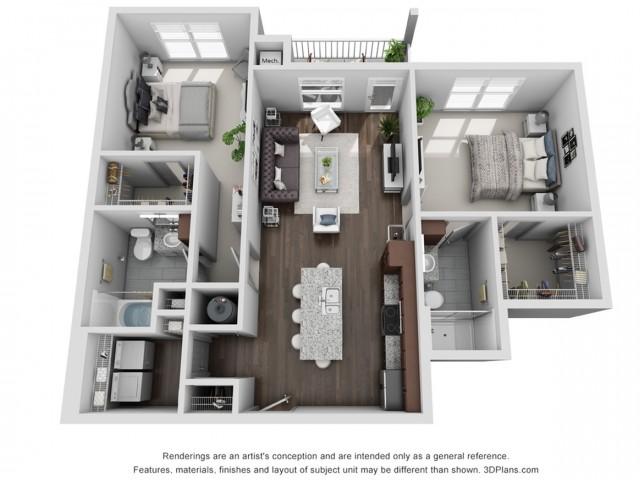 Silverton 1084 Square Feet Two Bedroom | Two Bathroom