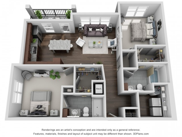 Pocono 1119 Square Feet Two Bedroom | Two Bathroom