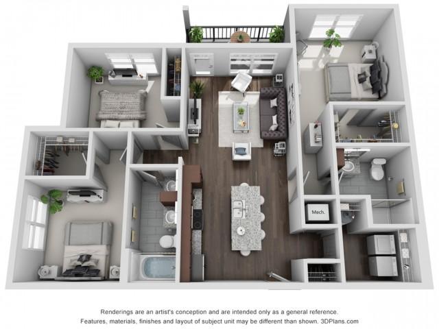 Zephyr 1272 Square Feet Three Bedroom | Two Bathroom