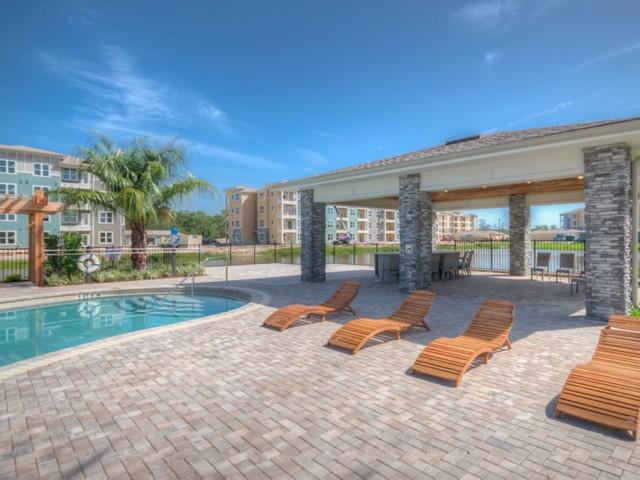 San Mateo Apartments Kissimmee Florida pool with outside pavilion and pergola
