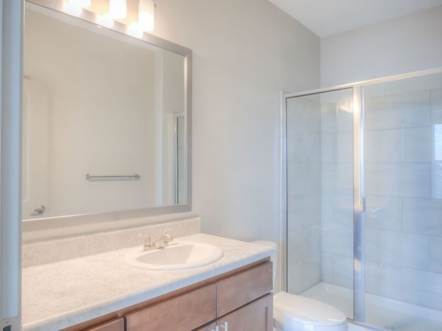 San Mateo Apartments Kissimmee Florida bathroom with walk in shower, tiled walls, large mirror with light fixture and single sink