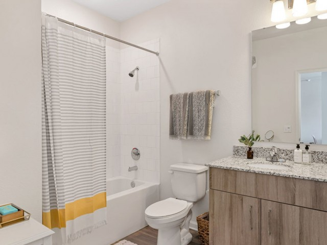 Venetian Apartments Ft. Myers guest bath with tub/shower combo and single sink with large mirror