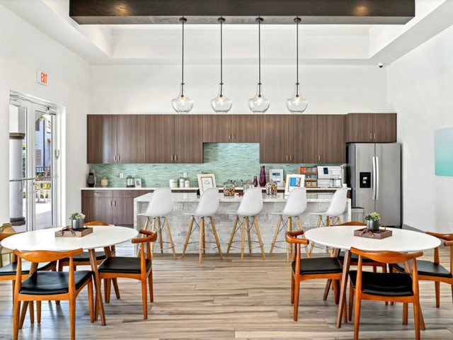 Venetian Apartments Ft. Myers clubhouse kitchen with complimentary coffee bar