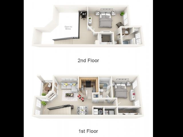 2 bedroom | 2 bathroom loft