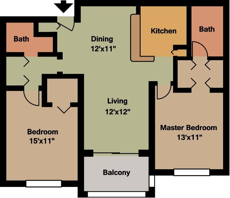 Hibiscus upgraded two bedroom two bathroom floor plan