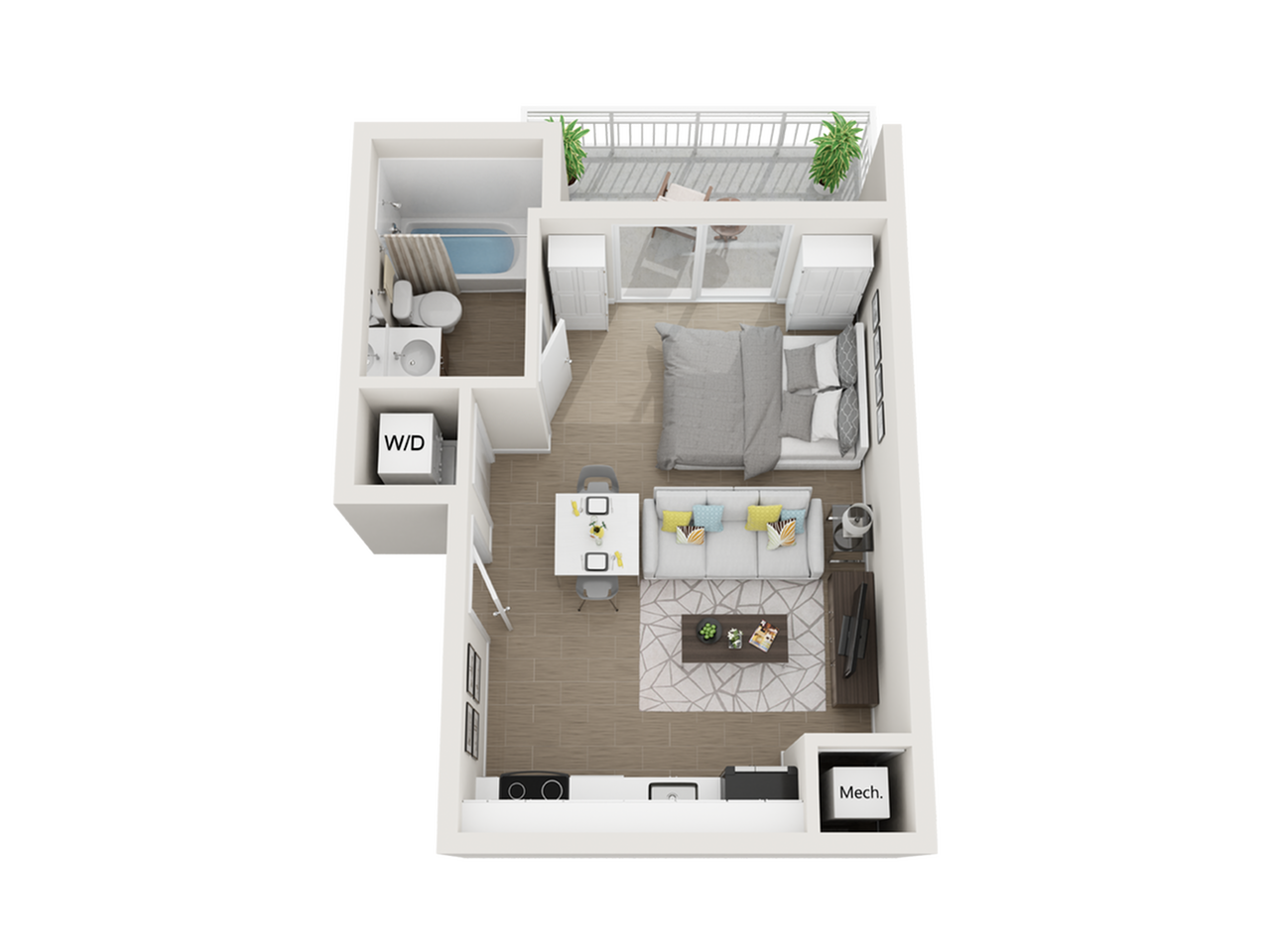 Salton studio 3D floor plan