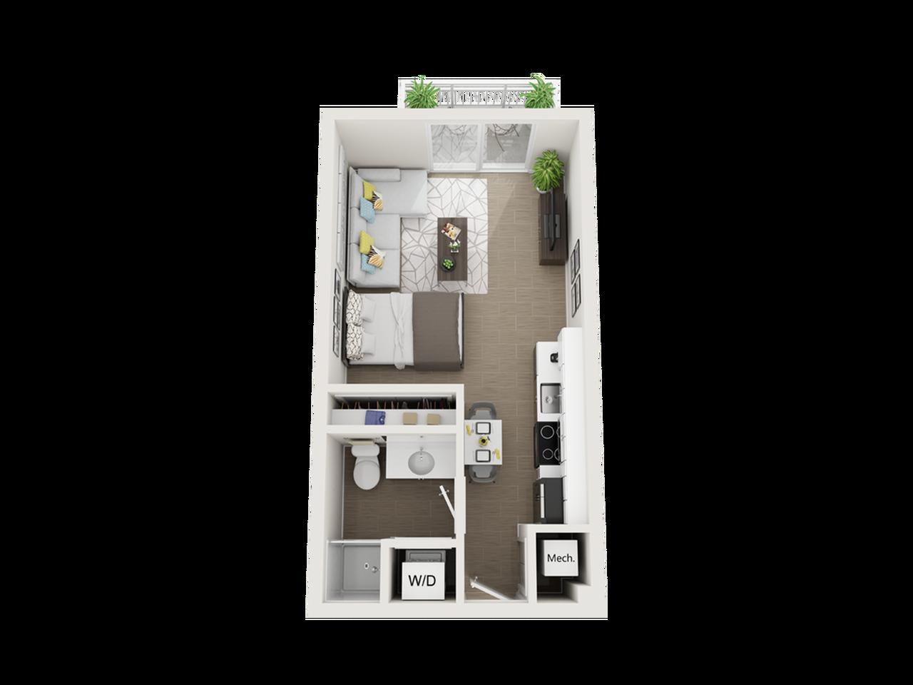 Seneca studio 3D floor plan