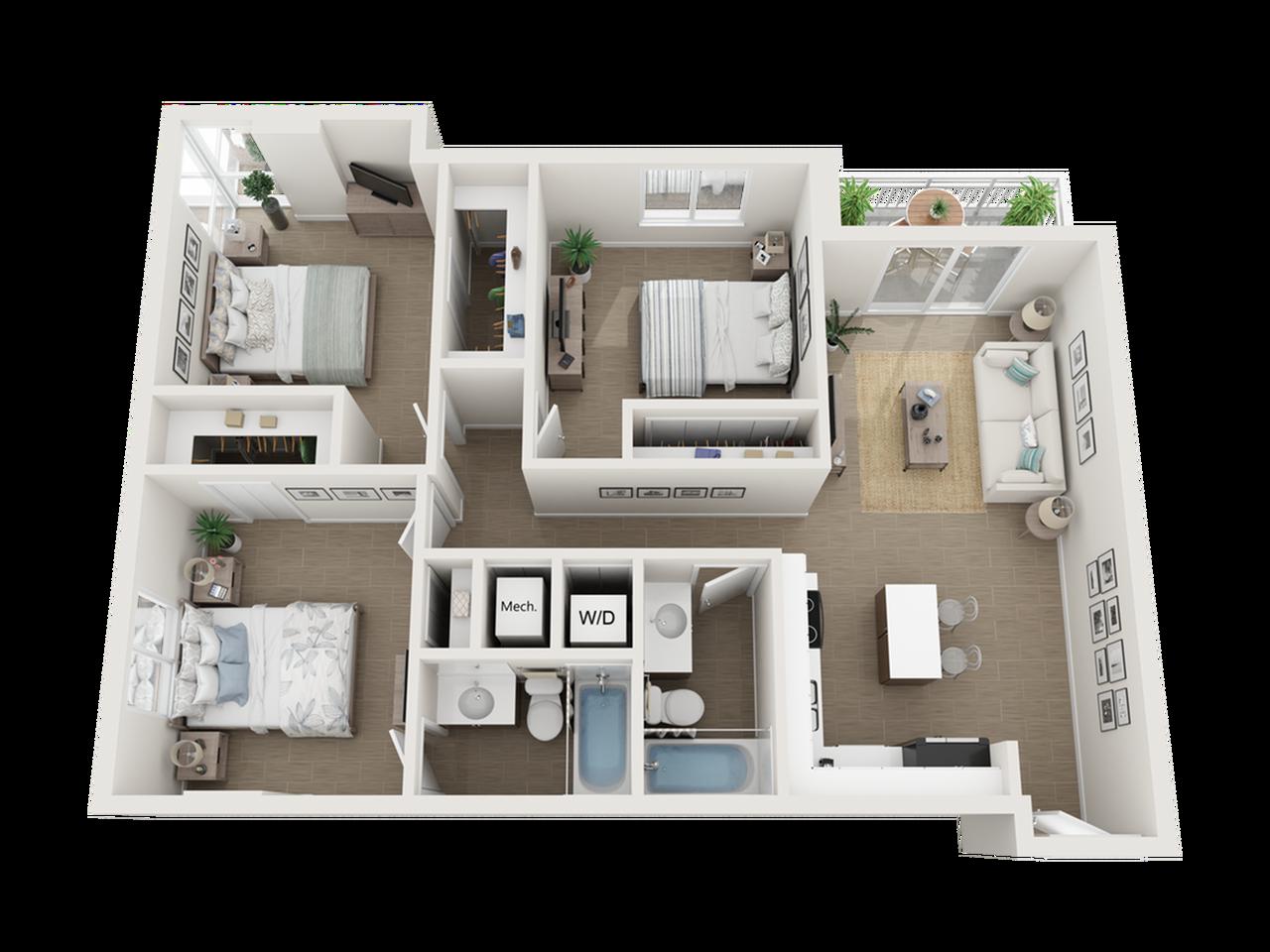 Como three bedroom two bathroom 3D floor plan
