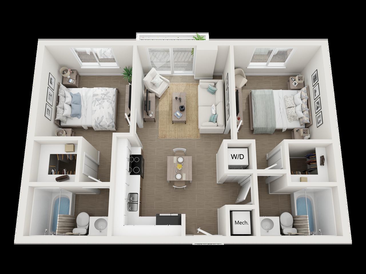 Balta l two bedroom two bathroom 3D floor plan