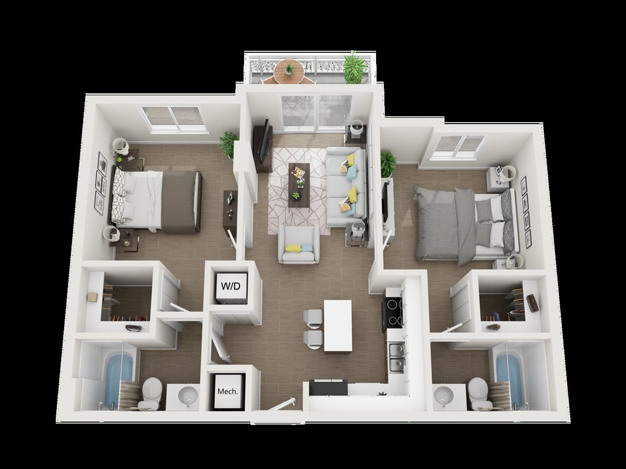 Balta ll two bedroom two bathroom 3D floor plan