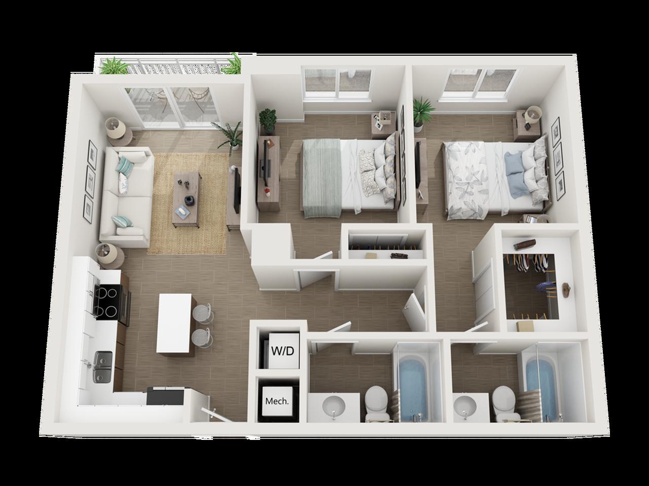 Burley l two bedroom two bathroom 3D floor plan