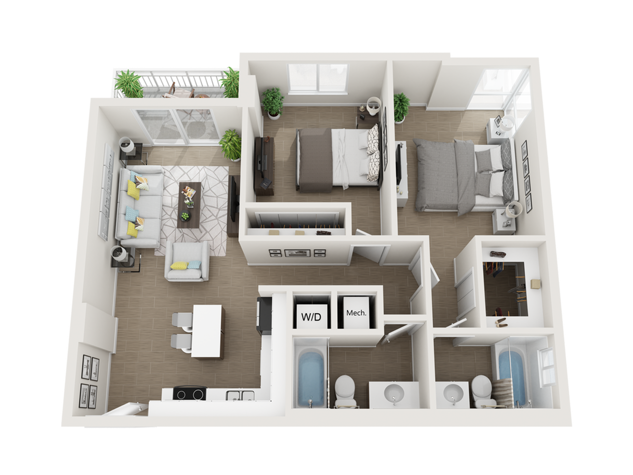 Burley ll two bedroom two bathroom 3D floor plan