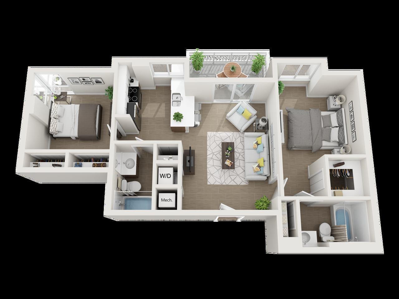 Broa two bedroom two bathroom 3D floor plan
