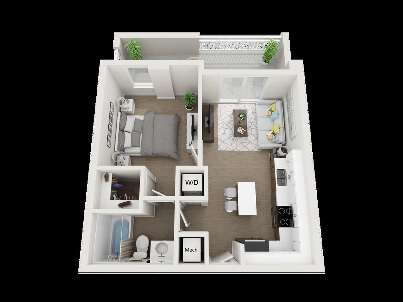 Aby l one bedroom one bathroom 3D floor plan
