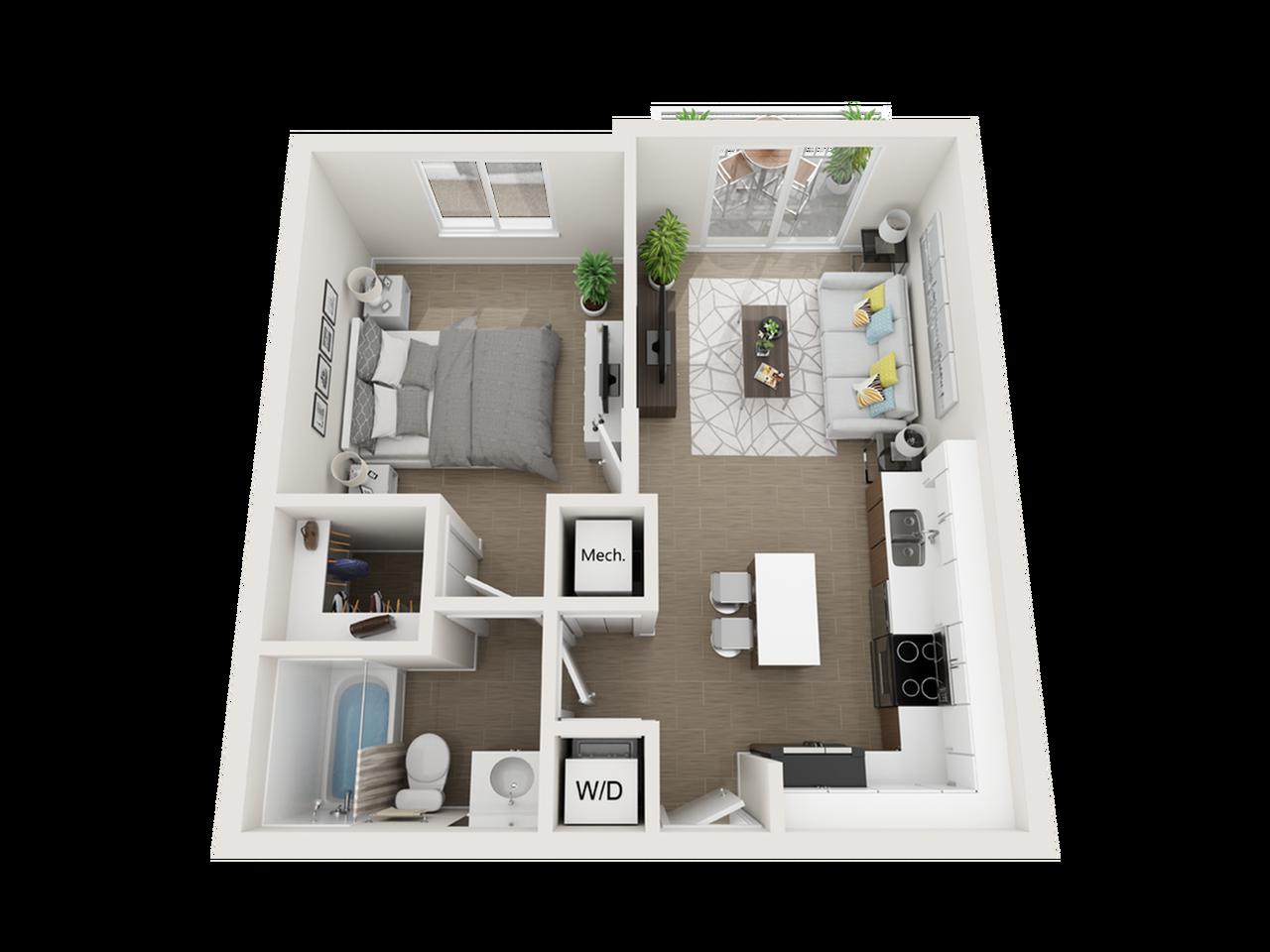 Aby ll one bedroom one bathroom 3D floor plan