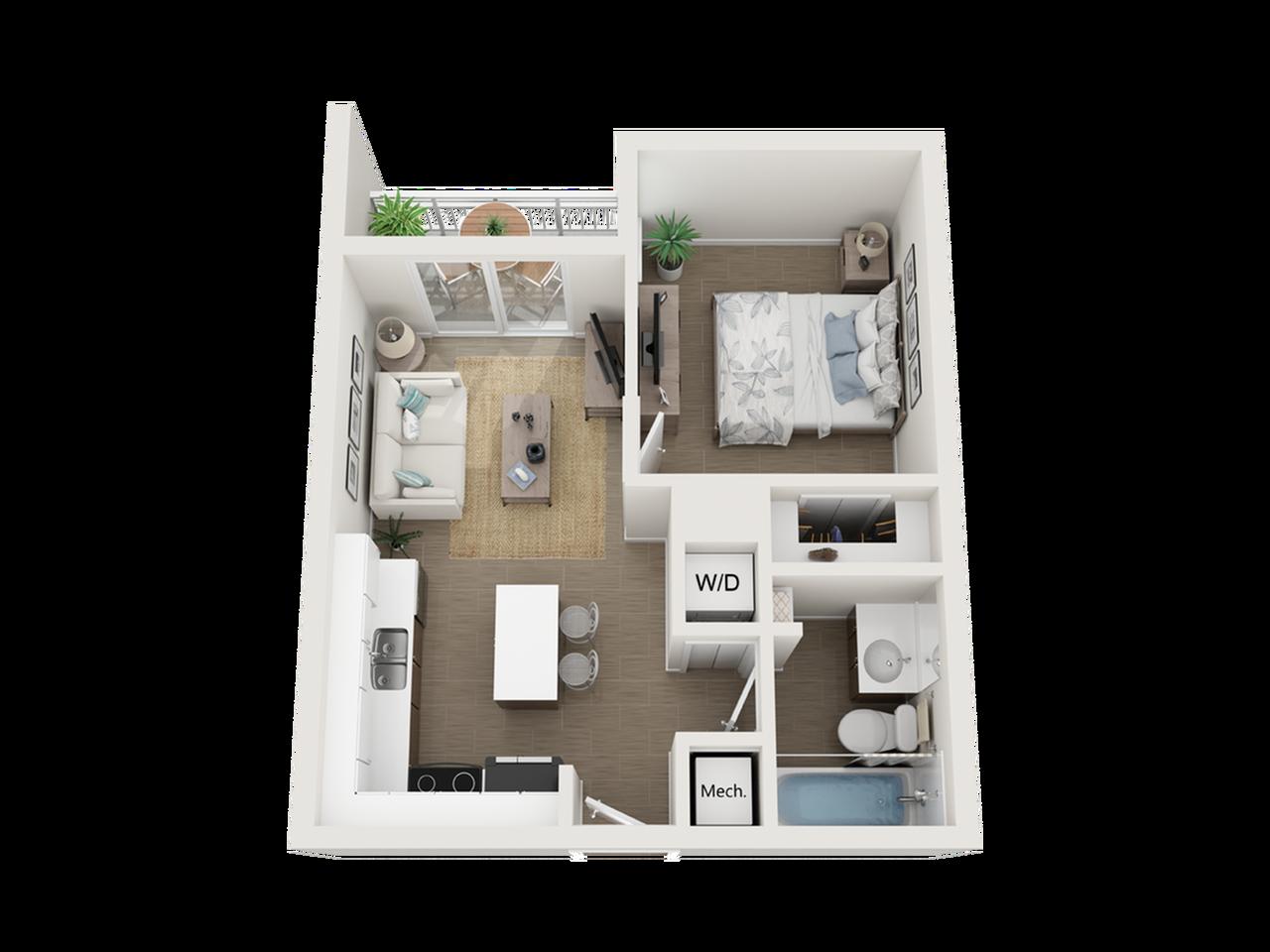 Aby lll one bedroom one bathroom 3D floor plan