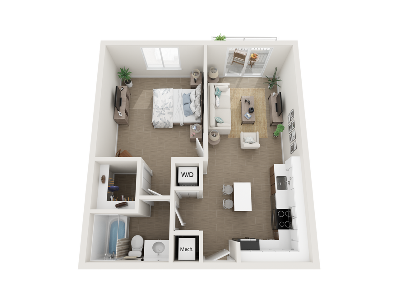 Aby lV one bedroom one bathroom 3D floor plan