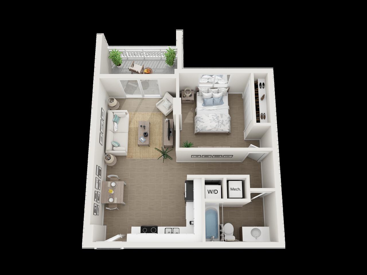 Atlin one bedroom one bathroom 3D floor plan