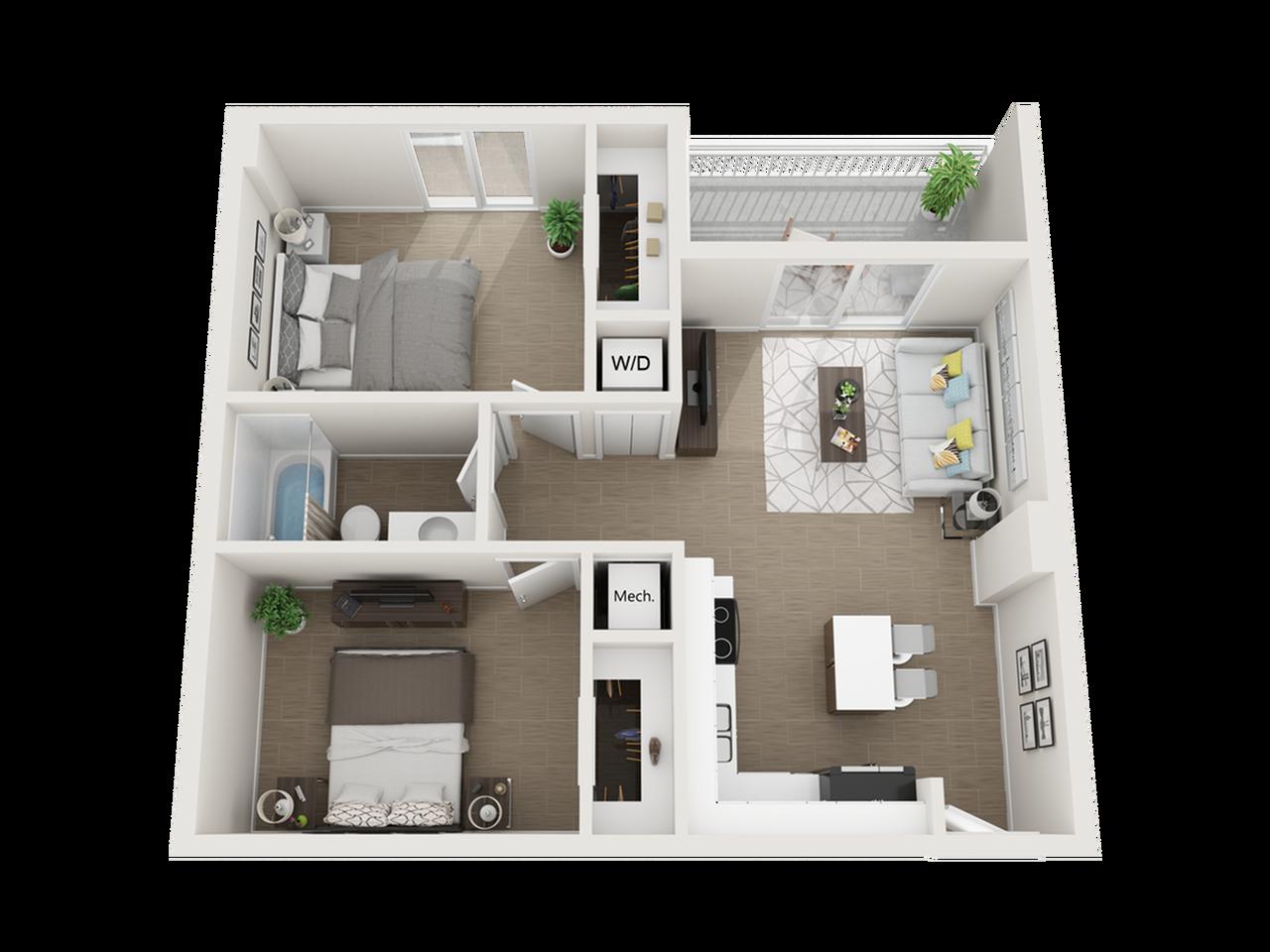 Aberdeen one bedroom one bathroom 3D floor plan