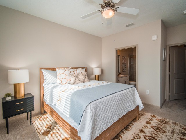 Tomoka Pointe Apartments Daytona Beach Florida furnished model bedroom with ceiling fan with light fixture, carpeted flooring, entrance to an attached walk-in closet, private door leading to master bathroom