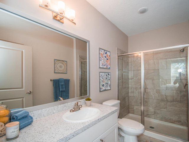 Tomoka Pointe Apartments Daytona Beach Florida master bathroom with formica countertop, porcelain sink, large framed mirror, modern light sconce above light, shower stall with glass sliding door entry, tilled walls, toilet