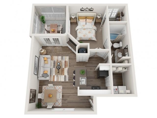 1 bedroom 1 bath apartment floor plan at Mezzo of Tampa in FL